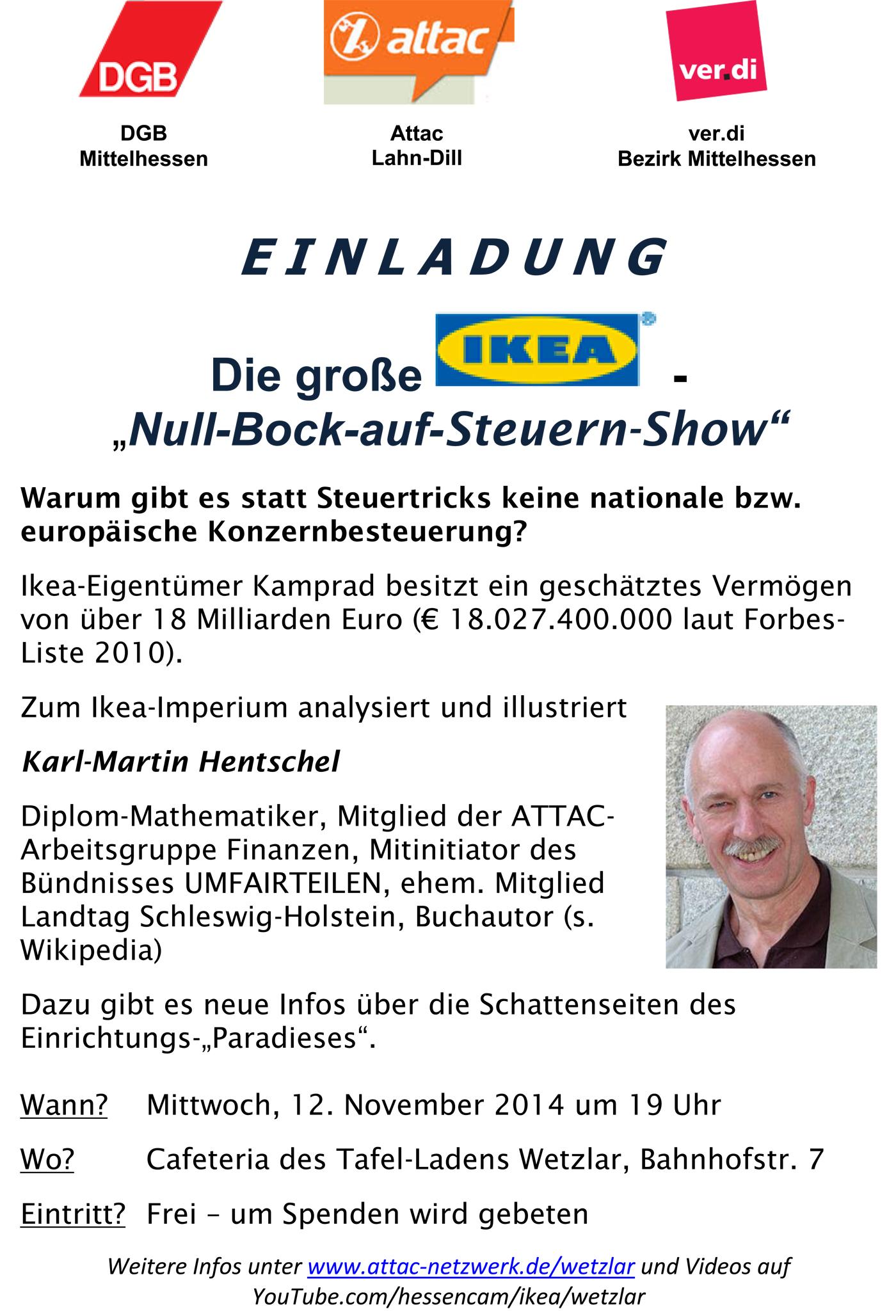 Attac Lahn-Dill, DGB und Verdi-Bezirk Mittelhessen - Logos